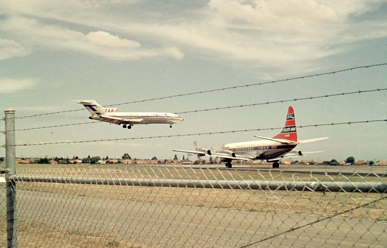 Click to view gallery of images. Photo supplied by Lindsay Walker of a TAA B727-100 Jet landing from East & Ansett-ANA Electra, Essendon Airport 1966