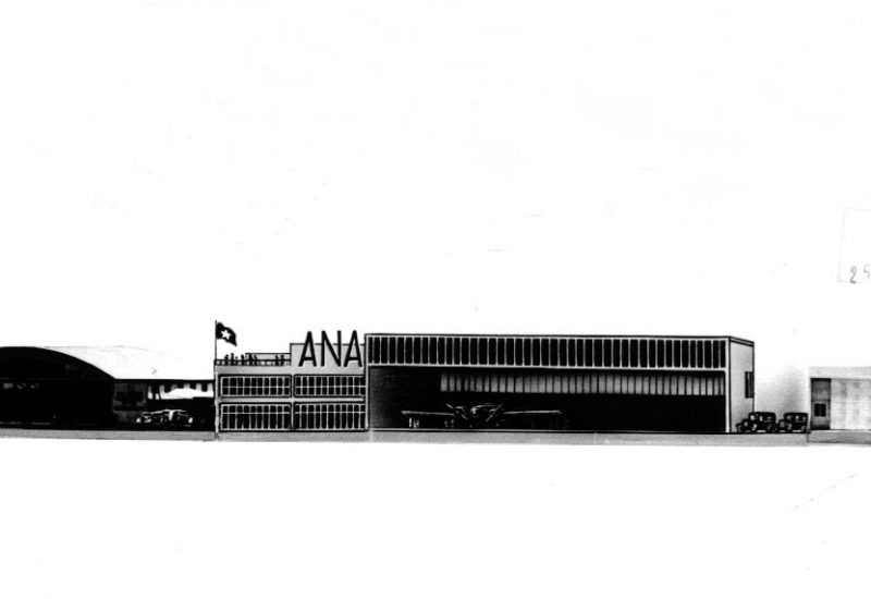 Click to enlarge. Photo supplied by CAHS of the ANA and Ansett buildings side by side 1938
