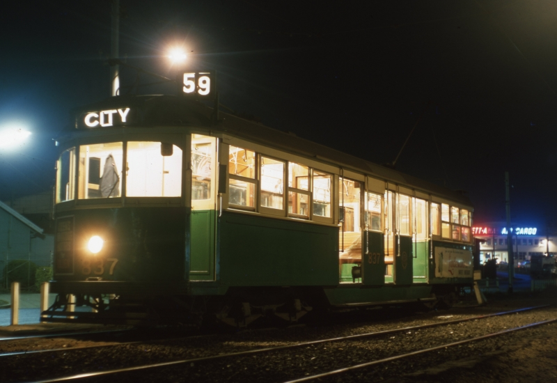 Image provided by Lindsay Walker of the Route 59 tram at the Essendon Airport terminus in 1965