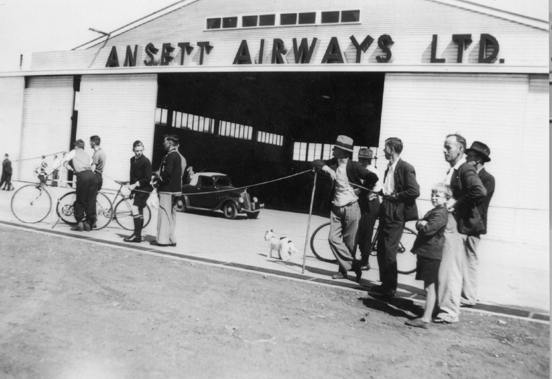 Click to view gallery of images. Photo supplied by CAHS of the Ansett Hangar Post War