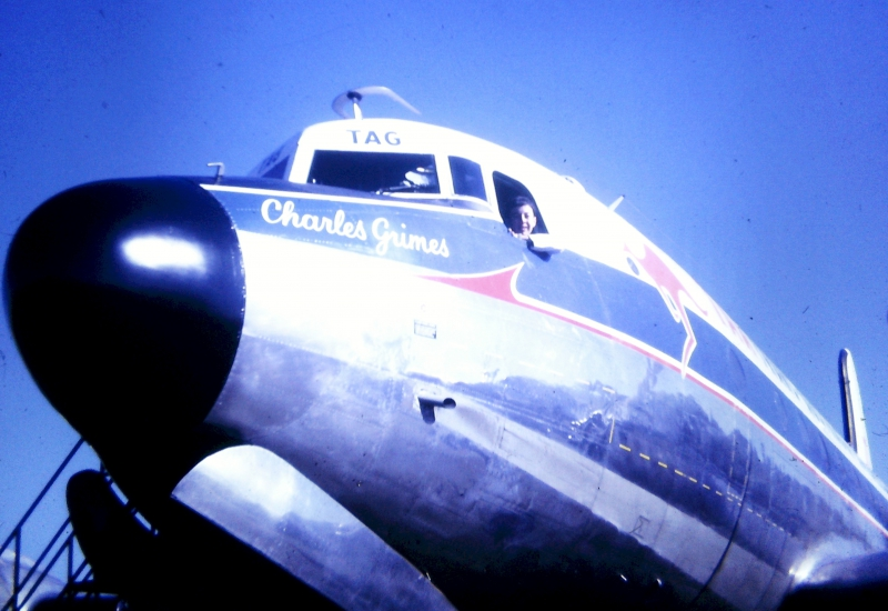 Click to view gallery of images. Photo supplied by Lynn O'Mara of her husband Ian on a DC-4 in 1968
