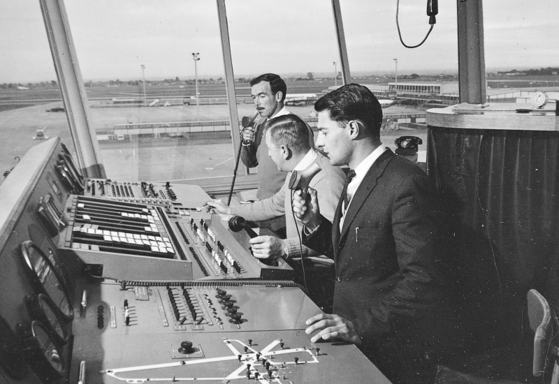 Click to expand. Photo supplied by CAHS of the inside of the Essendon Airport control tower in the 1960s
