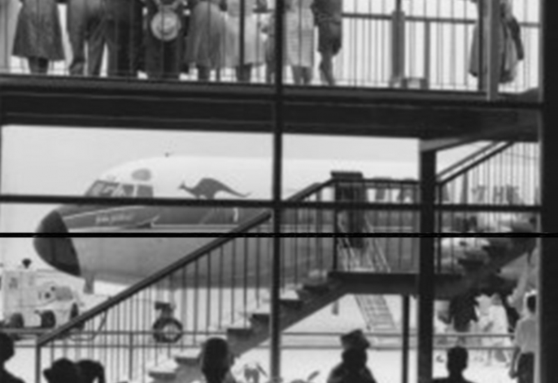 Click to expand. Photo supplied by CAHS of a Qantas 707 outside the Essendon Airport Terminal
