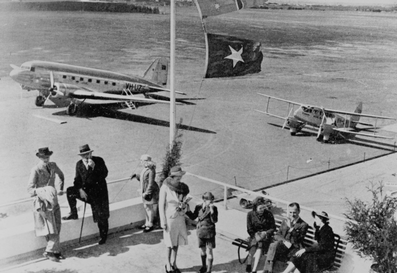 Click to enlarge. Photo supplied by CAHS showing the view from the ANA terminal in the 1930s