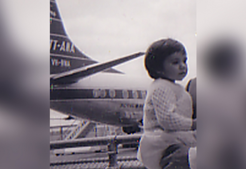 Click to view gallery of images. Photo supplied by Anne Hally of herself at the Airport in 1962
