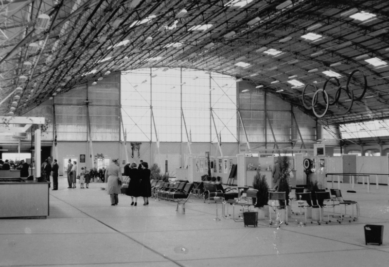 Click to expand. Photo Supplied by CAHS of the temporary Olympic terminal 1956