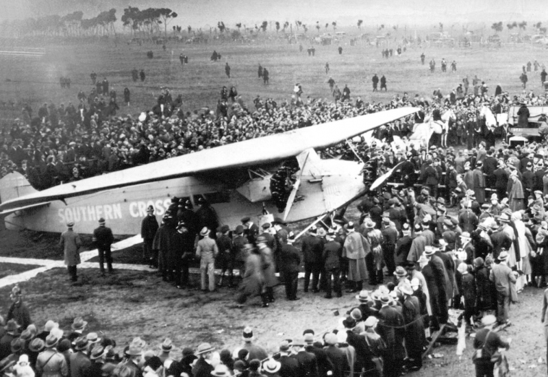 Click to view gallery of images. Photo supplied by CAHS of the Southern Cross Arrival in 1928