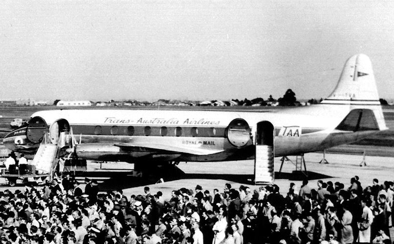 Click to view gallery of images. Photo supplied by CAHS of the Vickers Viscount arrival in 1954